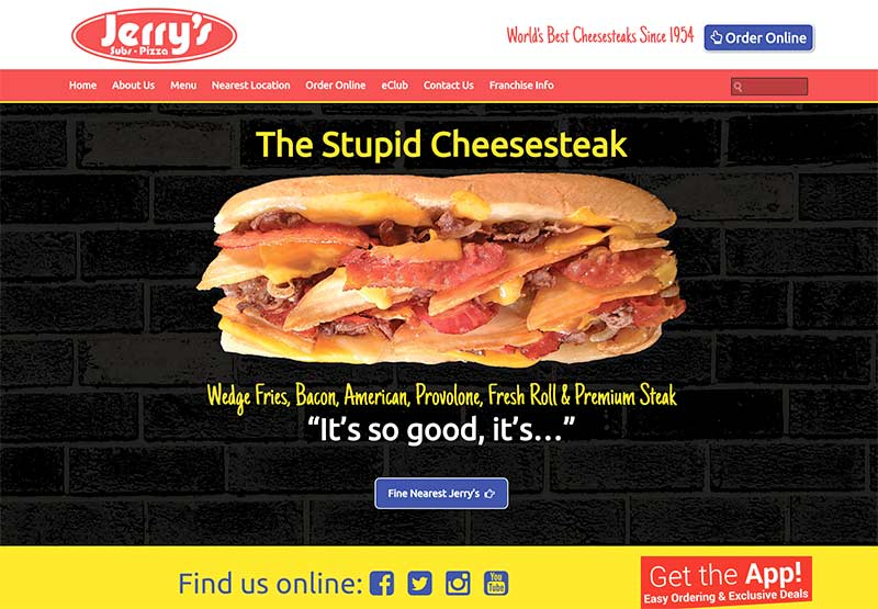 Jerry's Subs and Pizza main site built on Microsite platform.